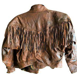 80s vintage soft leather fringe distressed jacket